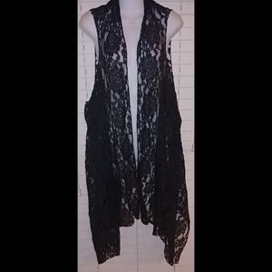 Lace gypsy vest shawl kimono black Stevie Nicks